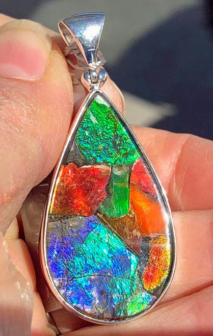 Ammolite Mosaic Pear Teardrop Sterling Silver Pendant  41SP