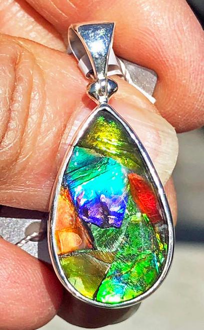 Ammolite Mosaic Pear Teardrop Sterling Silver Pendant  42SP