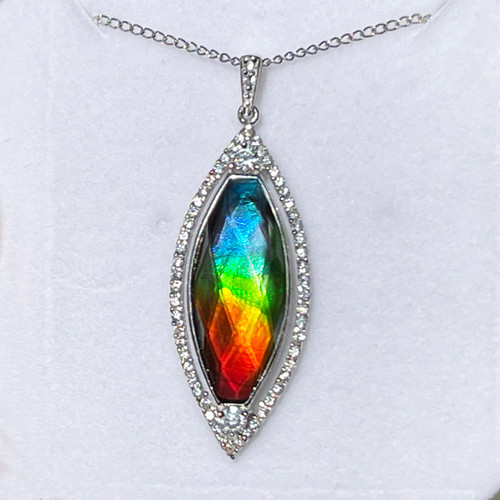 Ammolite Faceted Marquise Sterling Silver Bling Pendant Necklace 47SP