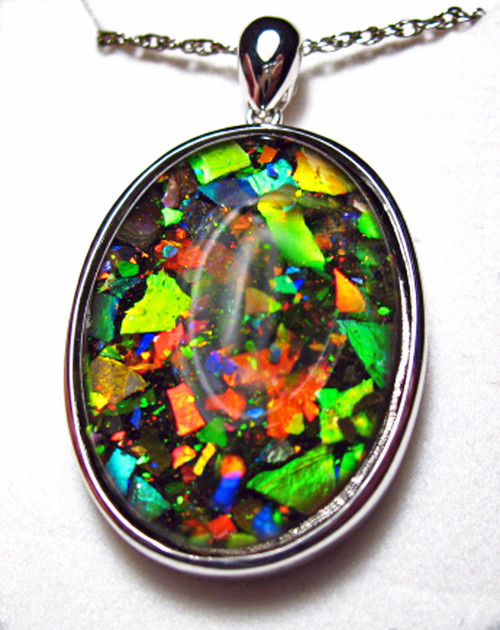 Ammolite Mosaic  Oval Sterling Silver Pendant 49SP