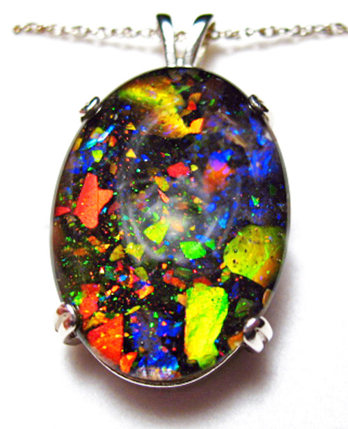 Ammolite Mosaic  Oval Sterling Silver Pendant 51SP
