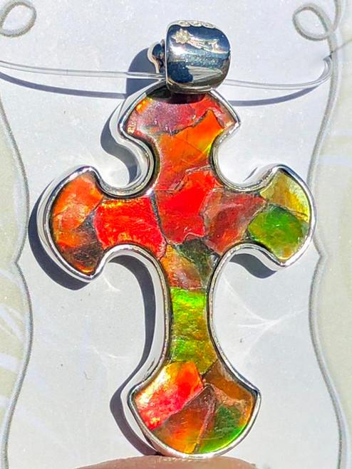 Ammolite Mosaic Fancy Cross Sterling Silver Pendant  57SP