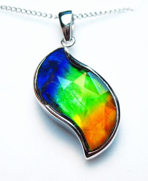 Ammolite Faceted Leaf Sterling Silver Pendant A-61SP
