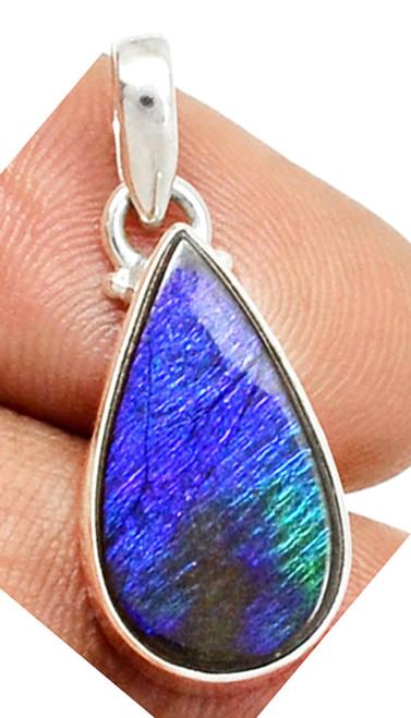 Ammolite Pear Teardrop Sterling Silver Pendant  62SP