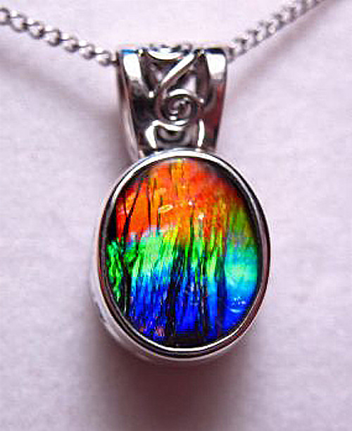 Ammolite Oval Sterling Silver Scrollwork Pendant 65SP