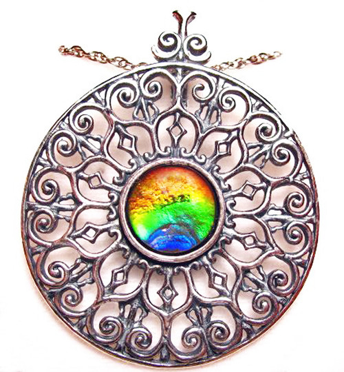 Ammolite Round Fancy Sterling Silver Pendant/Enhancer  84SP