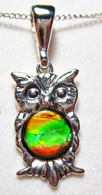 Ammolite Round Sterling Silver Owl Pendant  69SP