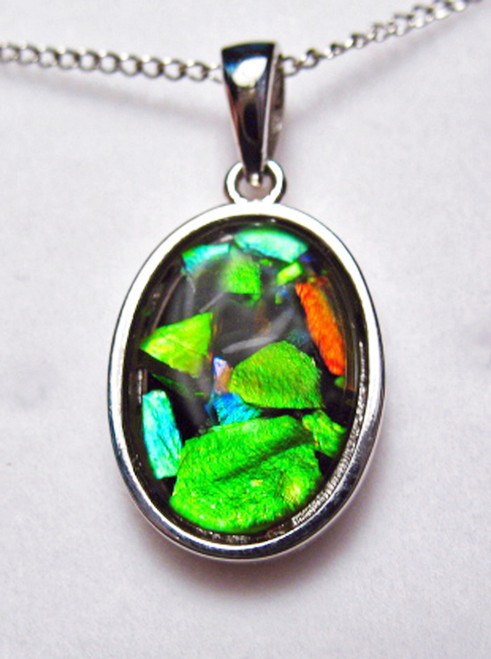 Ammolite Mosaic  Oval Sterling Silver Pendant 74SP