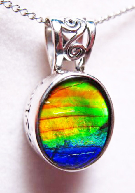 Ammolite Oval Sterling Silver Scrollwork Pendant 79SP
