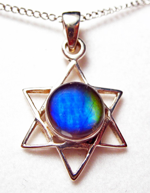Ammolite Blue Star of David Sterling Silver Pendant  82SP