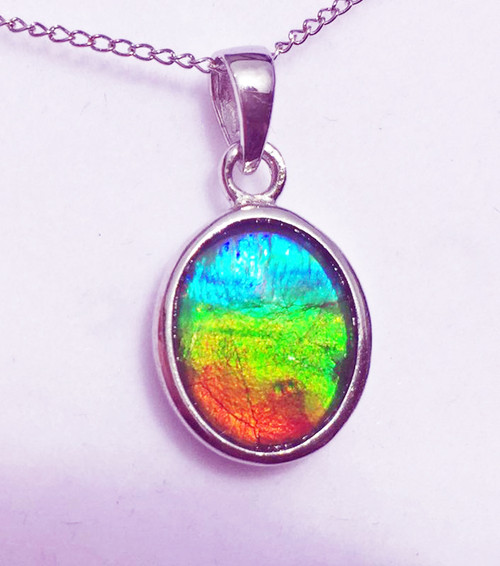 Ammolite Oval Sterling Silver Pendant 83SP
