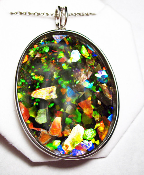 Ammolite Mosaic Huge Oval Sterling Silver Pendant 85SP