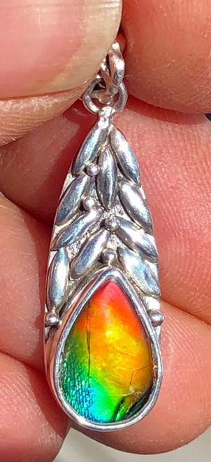 Ammolite Pear Teardrop Sterling Silver Pendant 91SP