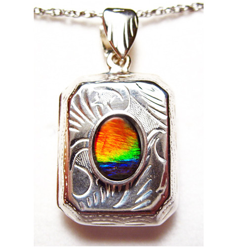 Ammolite Oval Sterling Silver Locket Pendant  97SP