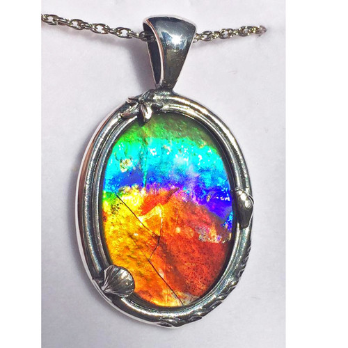 Ammolite Oval Sterling Silver Nautical Pendant 104SP