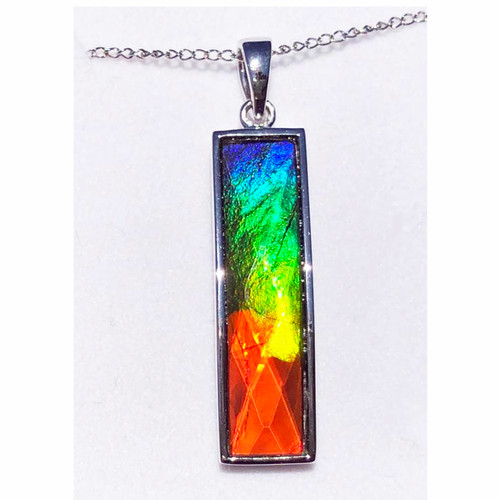 Ammolite Faceted Rectangle Column Sterling Silver Pendant 112SP