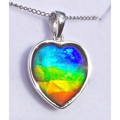 Ammolite  Heart Sterling Silver Pendant 132SP