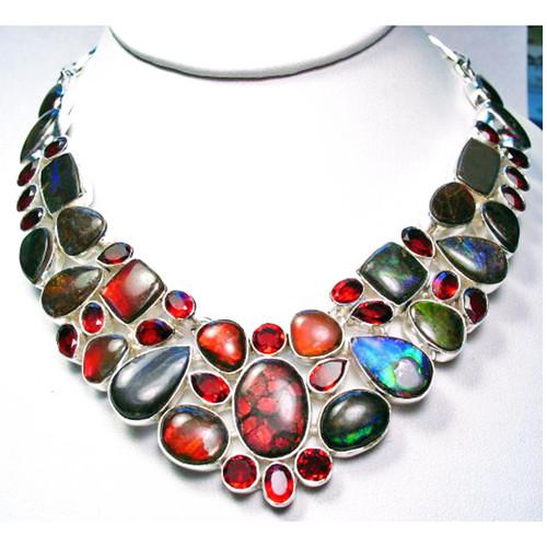 Ammolite 23 Stone & Garnet Necklace 3SAN