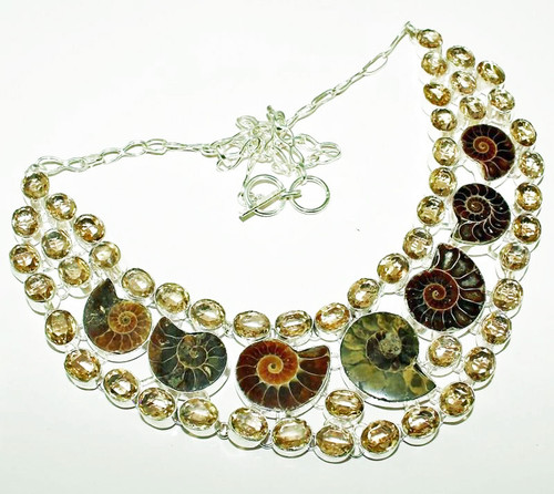 Ammonite & Smoky Quartz Necklace 5SAN