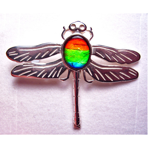 Ammolite Oval Dragonfly Pin Brooch Sterling Silver 1SDFP