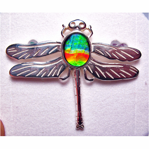 Ammolite Oval Dragonfly Pin Brooch Sterling Silver 2SDFP