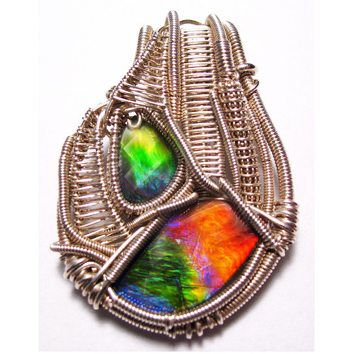Ammolite 2 Stone Sterling Silver Wire Wrapped Pendant 1SWP