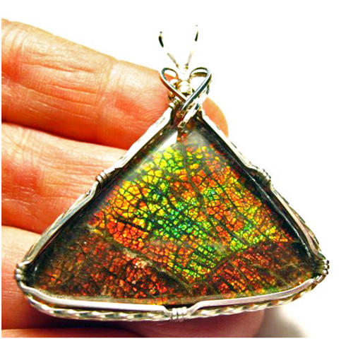 Ammolite Sterling Silver Wire Wrapped Pendant 5SWP
