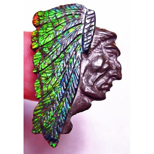 Ammolite Carved Indian Head 4CIH