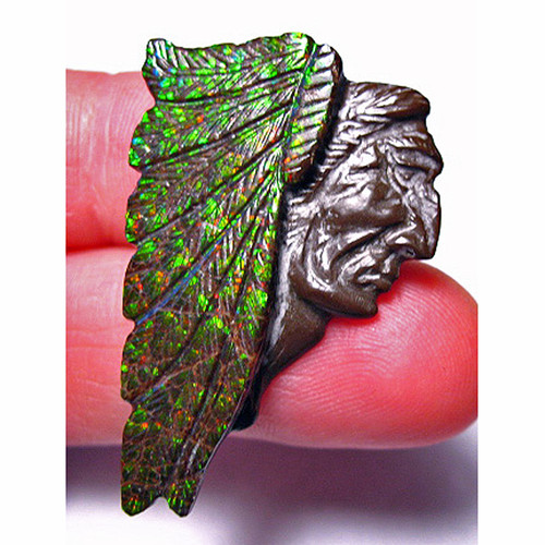 Ammolite Carved Indian Head 7CIH