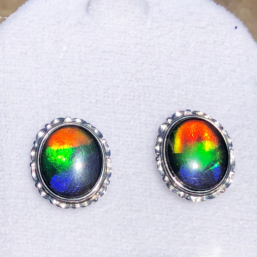 Sterling Silver Ammolite Oval Stud Earrings 1SE