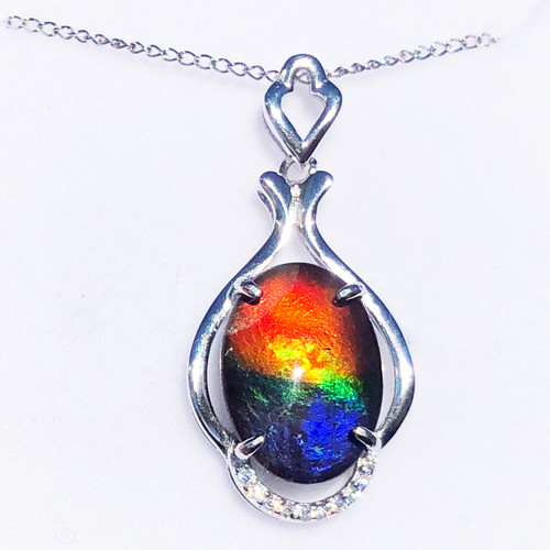 Ammolite  Oval Sterling Silver Pendant 44SP