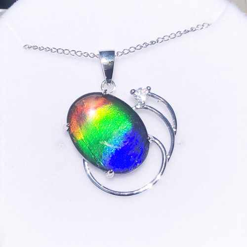 Ammolite  Oval Offset Sterling Silver Pendant 56SP