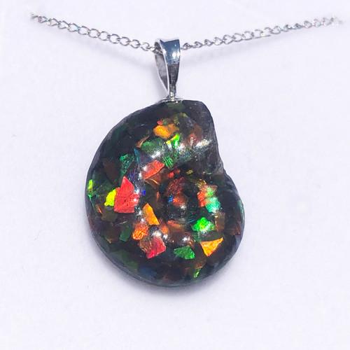Ammolite Ammosaic™ Swirls Sterling Silver Pendant 90SP