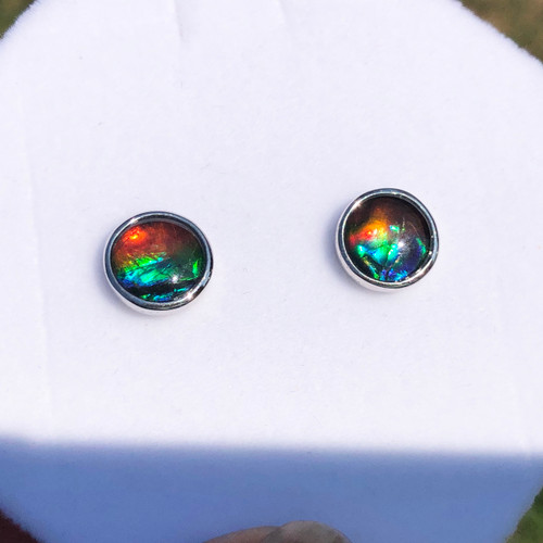 Sterling Silver Ammolite Round Stud Earrings 4SE