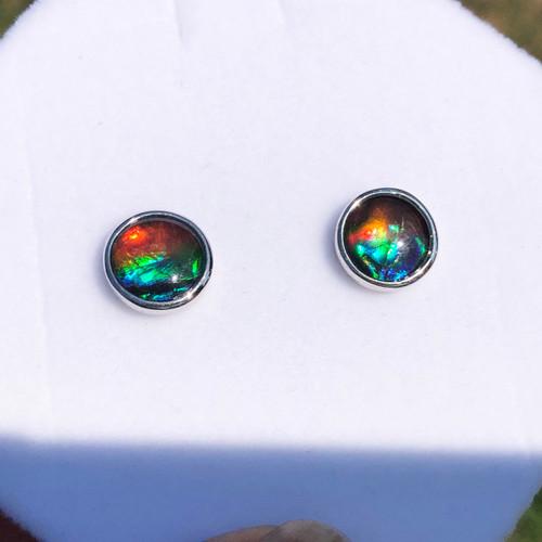 Sterling Silver Ammolite Round Stud Earrings 4SE
