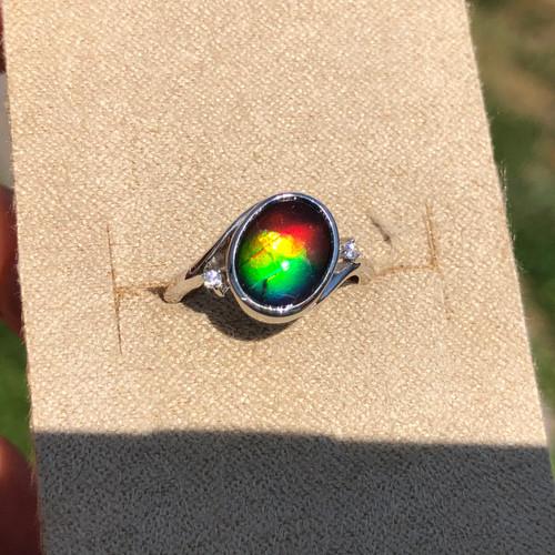 Ammolite & CZ Oval Ring Sterling Silver 12SR