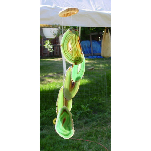 Green 5 slice agate wind chimes