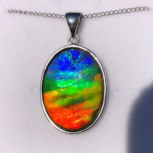 Ammolite Oval Sterling Silver Necklace Pendant 31SP