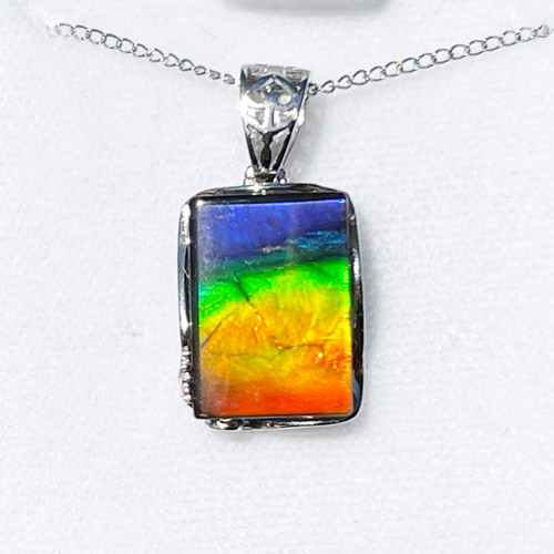 Ammolite Rectangle Sterling Silver Necklace Pendant 86SP