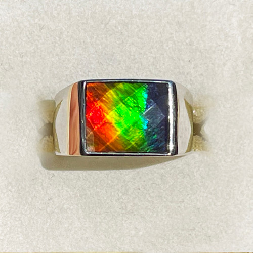 Ammolite Rectangle Ring Sterling Silver 30SMR