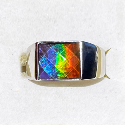 Ammolite Rectangle Ring Sterling Silver 31SMR