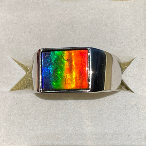Ammolite Rectangle Ring Sterling Silver 32SMR