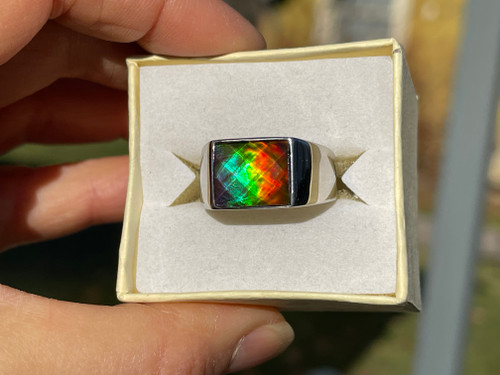 Ammolite Rectangle Ring Sterling Silver 35SMR