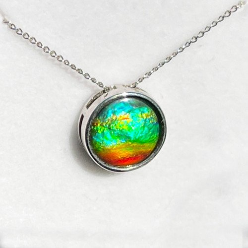 Ammolite Round Sterling Silver Slide Pendant Necklace  99SP
