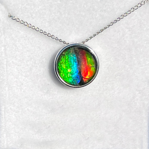 Ammolite Round Sterling Silver Slide Pendant Necklace  137SP