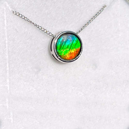 Ammolite Round Sterling Silver Slide Pendant Necklace  138SP