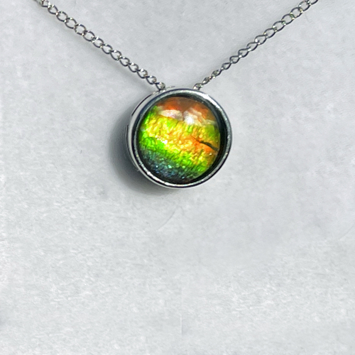 Ammolite Round Sterling Silver Slide Pendant Necklace  140SP
