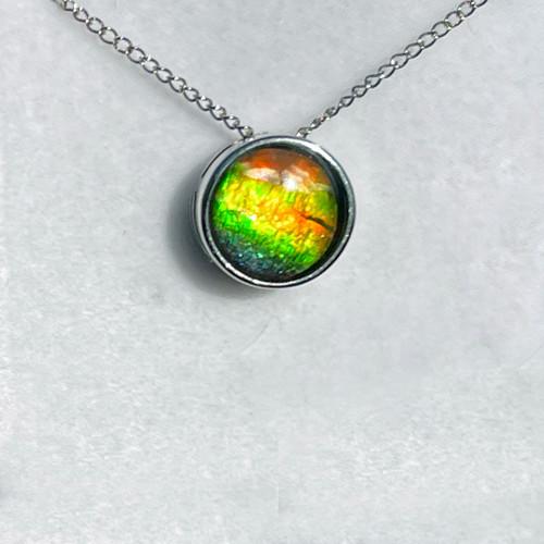 Ammolite Round Sterling Silver Slide Pendant Necklace  140SP