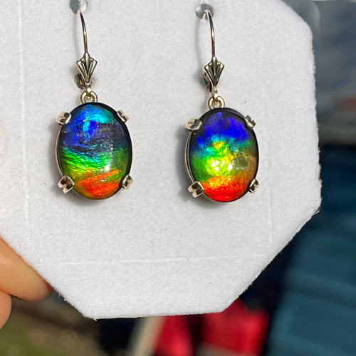 14K Yellow Gold Ammolite Oval Dangle Drop Earrings 20GLE