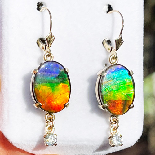 14K Yellow Gold Ammolite Oval Dangle Drop Earrings with Montana Sapphires 22GLE